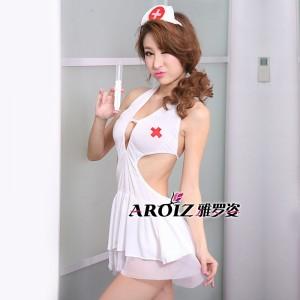 白色撩人护士裙...